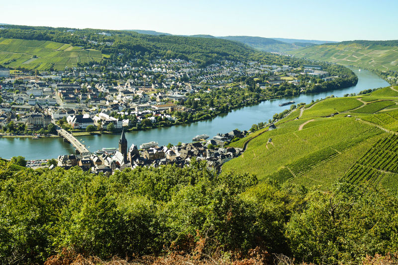 Bernkastel Kues Mosel Mosel River In Germany Water Tree Tourism Travel Destinations Growth Scenics Agriculture Wine Area Vineyard Nature Outdoors Landscape Sky No People Lush - Description Cityscape Day Looking Down Spring