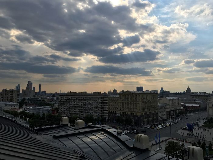 Moscow June 2018 Urban Geometry Urban Lifestyle Urban Landscape Urban Skyline Daytime Panoramic View Panoramic Photography Panoramic Panorama City View  City Street City Life Cityscape Building Exterior Architecture Sky Built Structure Cloud - Sky City Sunset Building Cityscape No People Outdoors Skyscraper Residential District Roof Sunlight