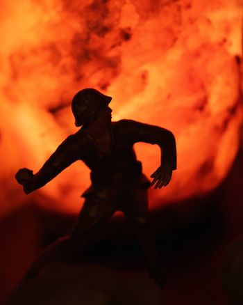 Toy Soldier Art Artistic Burning Close-up Creative Creative Photography Creative Power Danger Flame Focus On Foreground Glowing Grenade Heat - Temperature Illuminated Night Orange Color Orange Sky Selective Focus Toy Soldier Unusual War