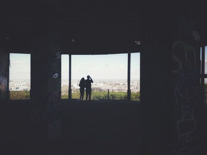 Hiking Outdoors Silhouette View Abandoned Abandoned Places Couple Full Length Window Protection Worn Out