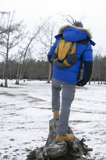 Rear view of person standing on snow covered land