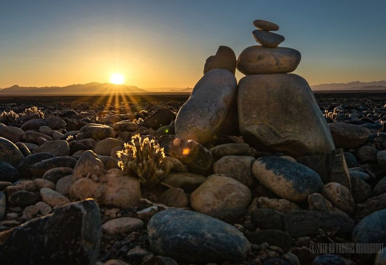 Morning Desert Landscape Sunrise Sunlight Sun Pebble Rock - Object No People Nature Outdoors Beauty In Nature Sky