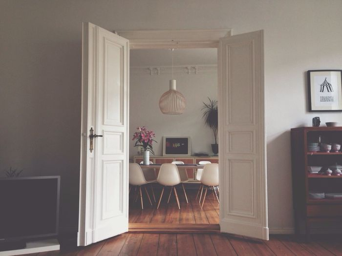 View of dining area through doorway
