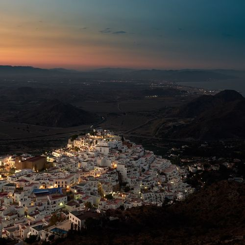 Spaın Almería Mojacar Mojacar Pueblo Architecture City Building Exterior Sky Built Structure Cityscape Water Building High Angle View Nature Sea Residential District Cloud - Sky Sunset Aerial View Night No People Community Travel Destinations Outdoors