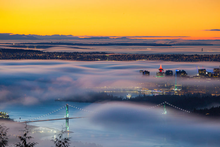 A sea of clouds over vancouver city