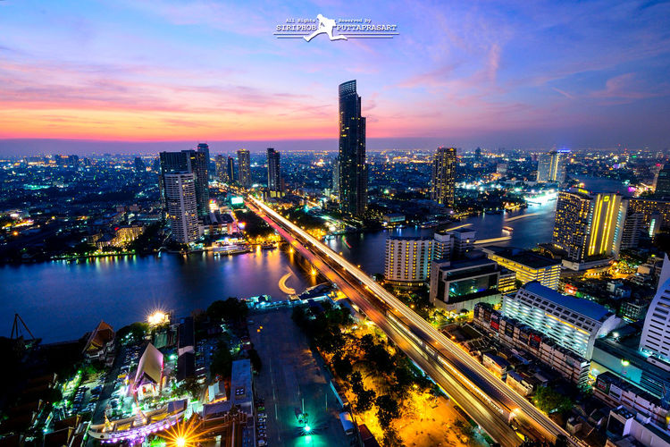 Cityscapes River Thailand Bangkok Sunset Evening Sky