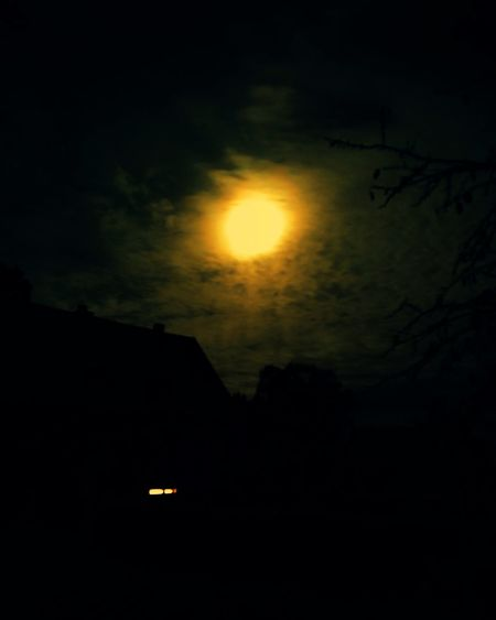 Silhouette of moon at night