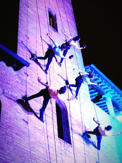 Night Illuminated Arts Culture And Entertainment Blue Low Angle View Architecture Outdoors Walldance