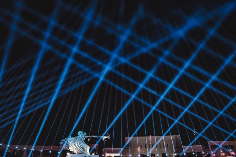 Katara Lights Doha Lights Qatar Katara Light Night Illuminated Blue Arts Culture And Entertainment No People Built Structure Lighting Equipment Architecture Light - Natural Phenomenon Event Performance Pattern Long Exposure Low Angle View Sky Nature Light Decoration Outdoors Nightlife Capture Tomorrow