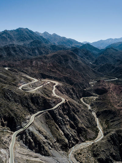 High angle view of road on mountains against sky