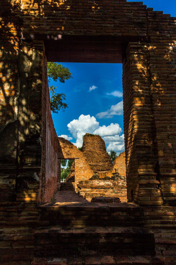 There're many ancient temples in Ayutthaya Thailand Ancient; Architecture Art; Attraction; Ayutthaya; Beautyful Stucco; Blue Buddhist; Canyon Cloud - Sky Culture; Day Geology History No People Outdoors Physical Geography Rural Scene Scenics Thailand; Tourism Traditional; Travel Tree Wat;