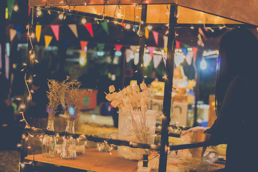 Host an Outdoor Winter Party : Fin Market Christmas Close-up Festival Happy New Year 2017 Illuminated Indoors  Mashmallow Night Nightphotography No People Winter