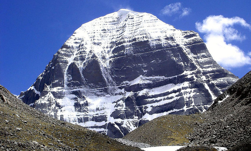 This is holy mountain Kailash situated at 6638 meters by million of Hiindus, circumference is 55 make round this holy mountain by walk. Mountain