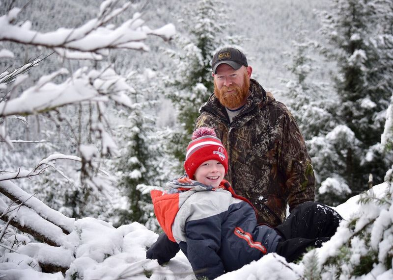 Winter Cold Temperature Snow Two People Warm Clothing Child Bonding Knit Hat Father Tree Togetherness Family Nature Lifestyles Outdoors Christmas Tree Men People Young Adult Snowing Snow ❄ Snow Covered Fatherhood Moments Father & Son Outside Photography