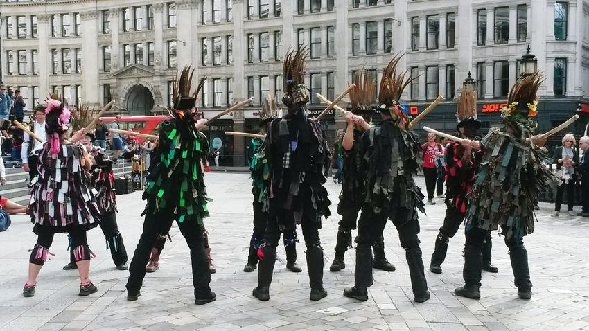 Morris Dancers Display Large Group Of People City Adult People Clothes London St.Pauls Square, London TCPM