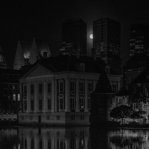City City Life Cityscape Full Moon 🌕 Moon Architecturelovers Museums Night Pond Reflections Urban Water