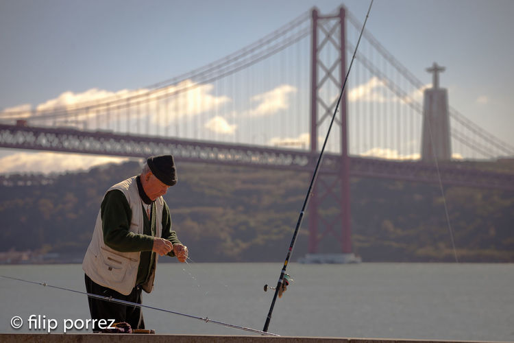 Bridge Bridge - Man Made Structure Connection Engineering Fisher Man Hobbies Leisure Activity Portugal Real People