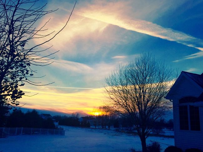 Bare Tree Beauty In Nature Blue Built Structure Cloud Cloud - Sky Cold Temperature Covering Landscape Nature No People Orange Color Outdoors Scenics Season  Sky Snow Snow Covered Sun Sunset Tranquil Scene Tranquility Tree Weather Winter
