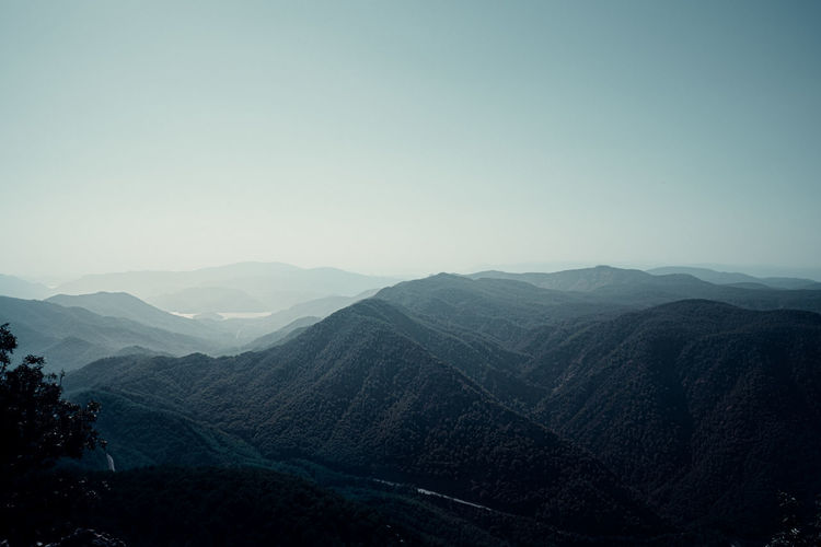 High angle view of mountains against clear sky