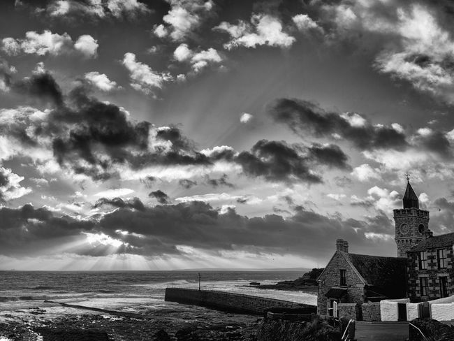 Atmospheric Mood Beauty In Nature Blackandwhite Blackandwhite Photography Building Exterior Cloud Cloud - Sky Cloudscape Coastline Cornwall Horizon Over Water Monochrome Porthleven Sea Sky Tranquil Scene Tranquility Water