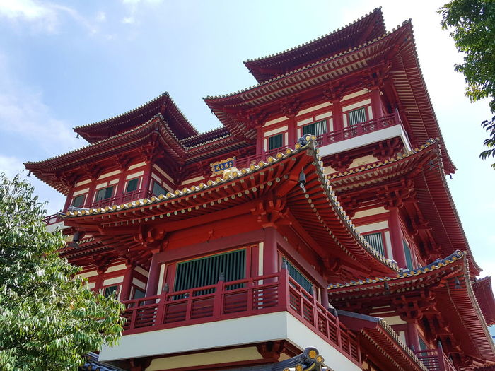 Outside - Buddha Tooth Relic Temple Low Angle View Sky Architecture Built Structure No People Tree Day Red Travel Destinations Building Exterior Outdoors Nature Photographers Photographer Photo Photography Architecture Temple Singapore Religion