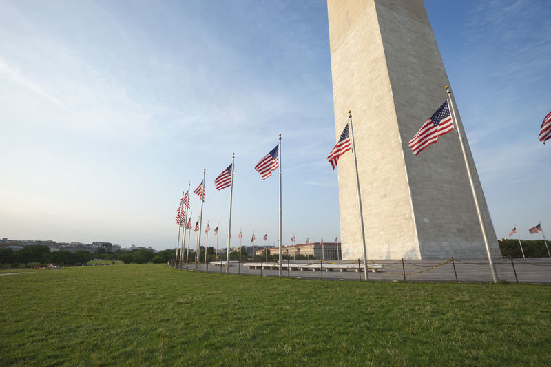 American Flag Architecture Blue Clouds Exterior Historical No People Sky United States USA Washington Monument Washington, D. C. Washington, D.C.