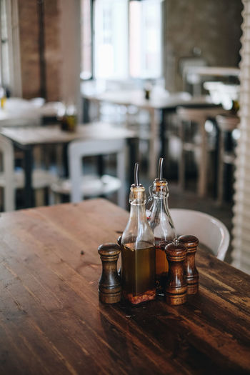 Drink in bottle on table at restaurant