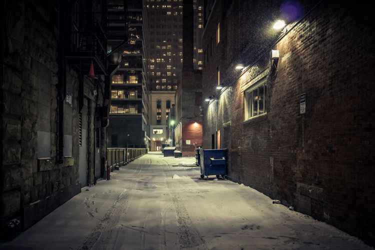Dark alley in winter time, Calgary Architecture Building Exterior Built Structure Night Illuminated City Street Building The Way Forward Street Light Lighting Equipment No People Alley Empty Electric Lamp Wintertime Calgary, Alberta Illuminated Signs Moody darkness and light Snowcapped Mountain Communication Urban Urban Vibes