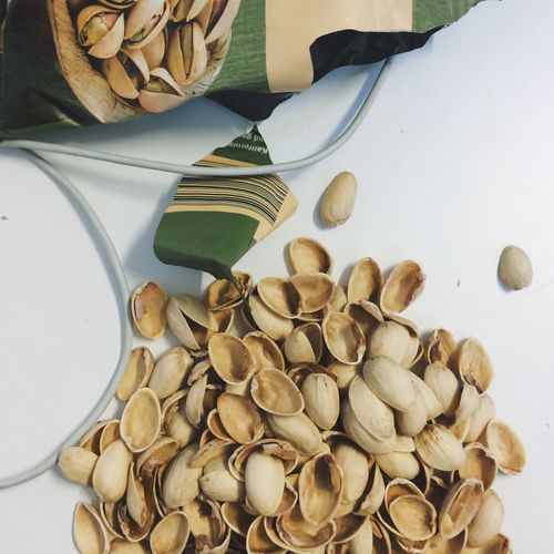High Angle View Of Pistachio Shells