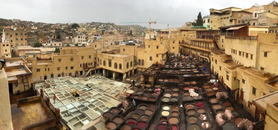 Fes tannery Colors Colourful Colour Morocco Tannery Architecture Building Exterior Built Structure Day Sky No People Outdoors City