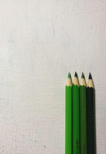 """green pencils"" Pencil Still Life Copy Space Green Color No People Studio Shot Multi Colored"