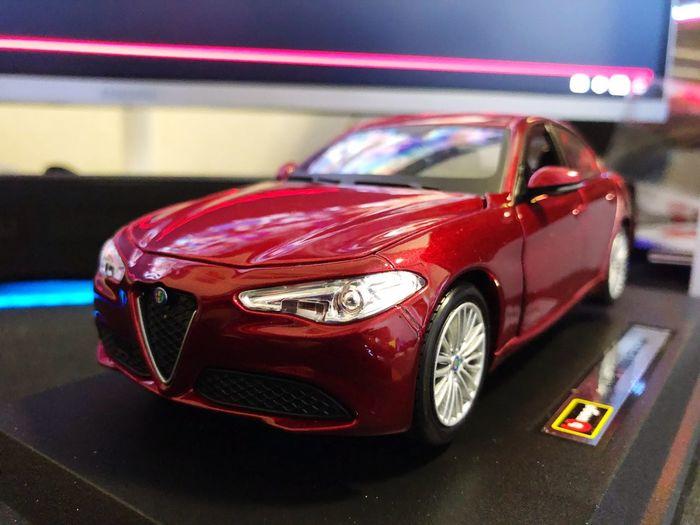 Alfa Romia Giulia Scale Model Car Motor Vehicle Mode Of Transportation Transportation Land Vehicle Red Toy Car Toy