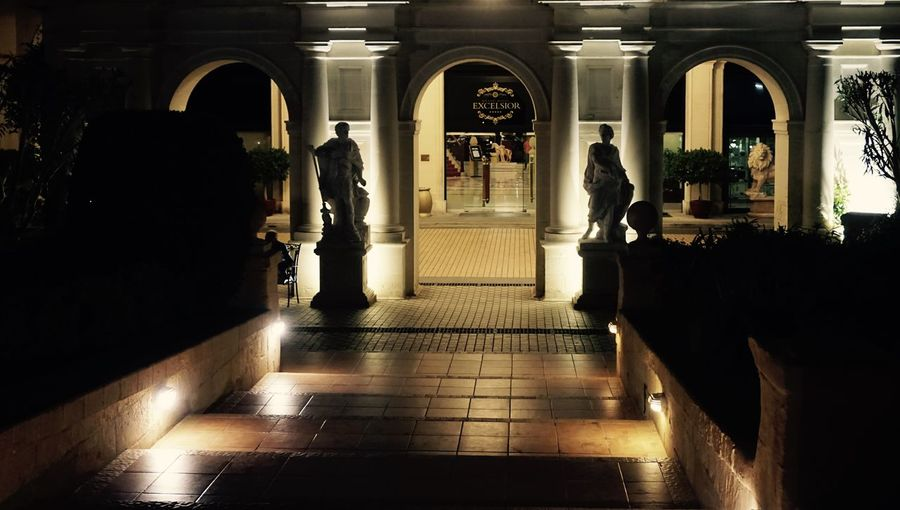 European City of Culture 2018 Hotel Excelsior Arch Architectural Column Dusk Entranceway Hotel Illuminated Outdoors Staircase Statues