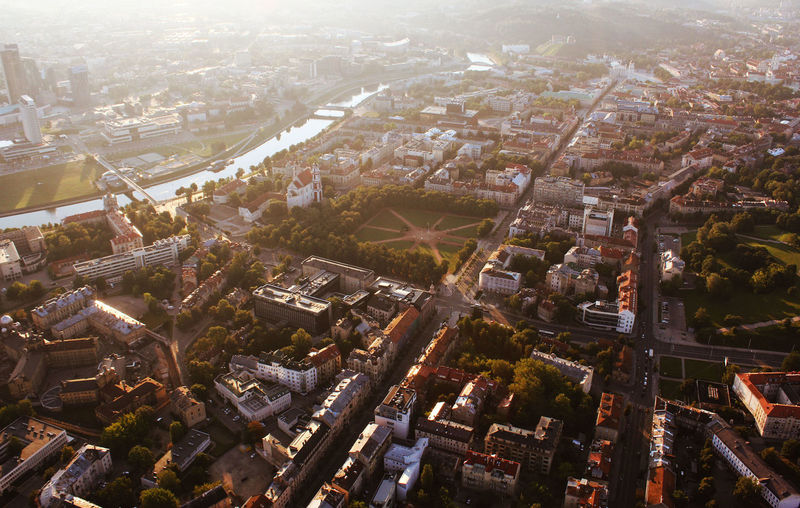 Good morning Colours Lithuania Sunlight Vilnius Aerial View Built Structure City Cityscape Europe High Angle View Sunrise Warm First Eyeem Photo