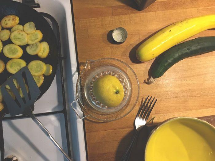 Bowl Cooking Courgette Food Preparation Frying Pan Kitchen Things Lemon Yellow