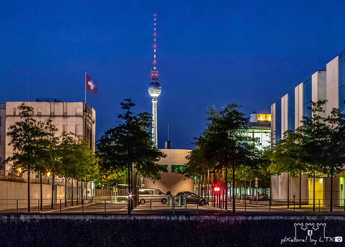 Between the Swiss and the Chancellor Berlin Night Lights City Lights Blue Hour Berliner Ansichten Fernsehturm Tiergarten Regierungsviertel Embassy Architecture