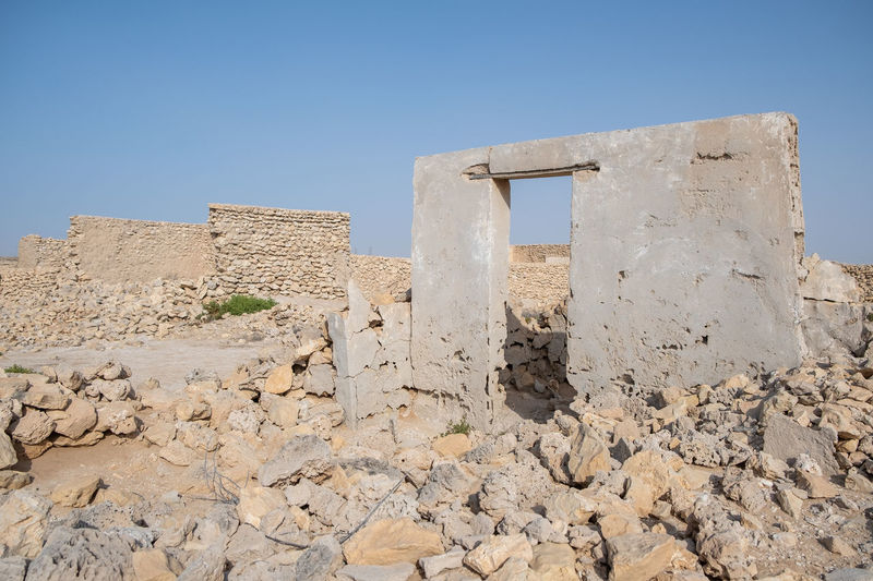 An abandoned fishing village located in al jumail, ruwais north of doha, qatar.