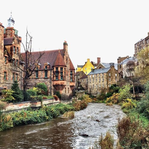 Dean Village Architecture Water River City Sky Tree History Edimburgo Scotland Bridge Old Town