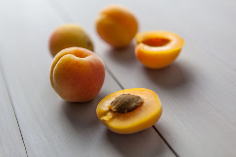 Apricots Apricots Closeup Food Freshness Fruit Halved Healthy Eating Table