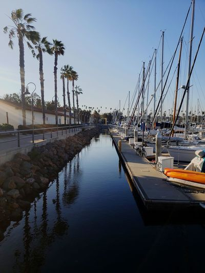 Los Angeles Harbor Water Reflection Clear Sky Sky Boat Shore Moored Mast Harbor Longtail Boat Horizon Over Water Tall Ship Water Vehicle
