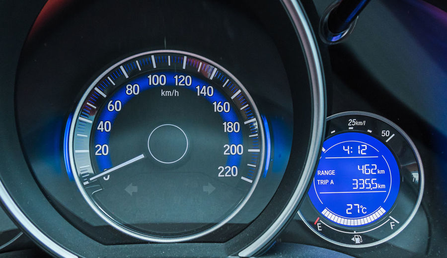 Blue Car Car Interior Circle Close-up Control Control Panel Dashboard Economy Electrical Equipment Geometric Shape High Angle View Indoors  Land Vehicle Meter - Instrument Of Measurement Mode Of Transportation Motor Vehicle No People Number Speed Speedometer Transportation Vehicle Interior