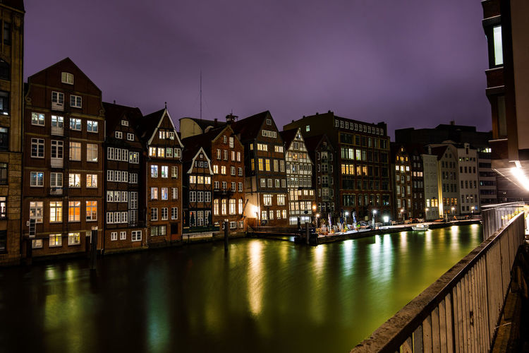 Building Exterior Architecture Built Structure Illuminated Building City Night Outdoors Hamburg, Hamburger Hafen Reflection Water Waterfront No People Sky River Window Residential District Lighting Equipment