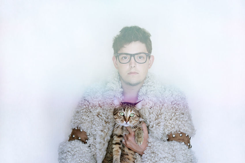 Cat Domestic Cat Animal One Person One Man Only Young Men Men Real People Fur Fur Coat White Background Portrait Eyeglasses  Looking At Camera Studio Shot Human Hand Headshot Close-up Feline