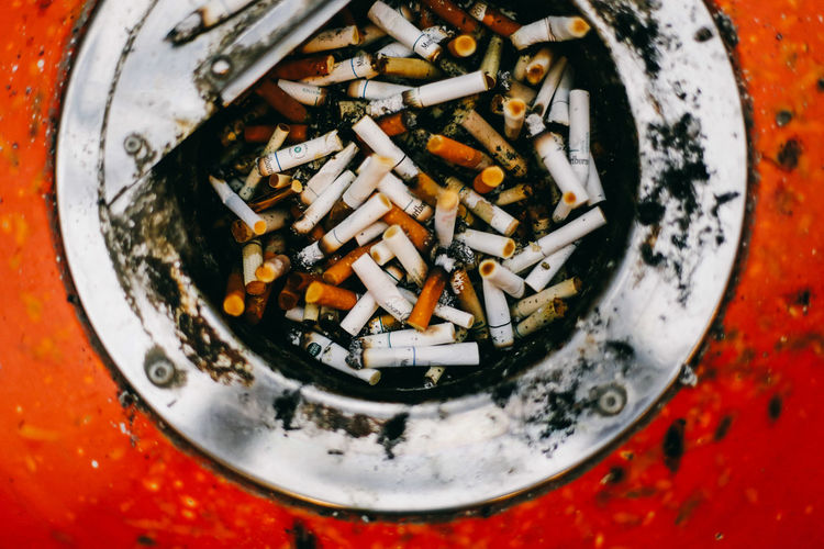 High angle view of cigarette in container
