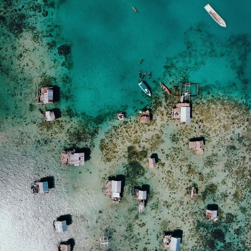 Directly above shot of huts at beach