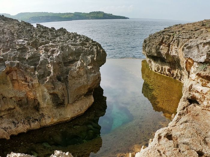 Panoramic view of sea and rock formation