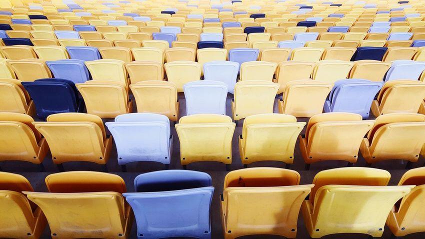 Diversity Repetition Yellow Chair Stadium Architecture EyeEm EyeEmNewHere EyeEm Gallery EyeEm Selects Eyeem Market The Week On EyeEm EyeEmBestPics EyeEm Best Shots The Week Of Eyeem Pattern, Texture, Shape And Form In A Row Repetition Arrangement Large Group Of Objects Abundance Indoors  No People Ingot Day