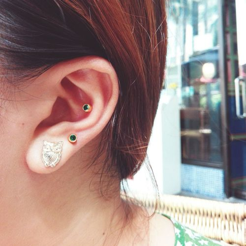 Piercings The Left Ear Green Owl Earings