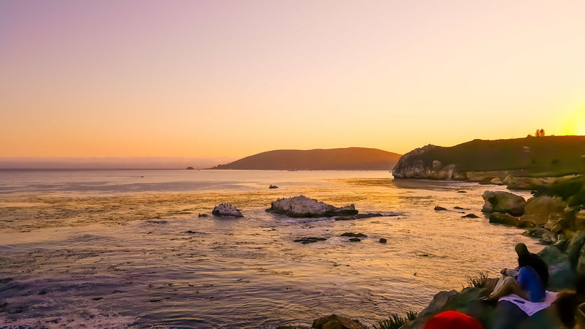 EyeEm Selects Beach Sunset Sea Tranquility Beauty In Nature Tranquil Scene Silhouette Horizon Over Water Vacations Summer Sky Water Nature Outdoors Landscape EyeEmBestPics Wanderlust Pirate's Life Pirates Cove Avila Beach CA Cave Cave View Cliffs