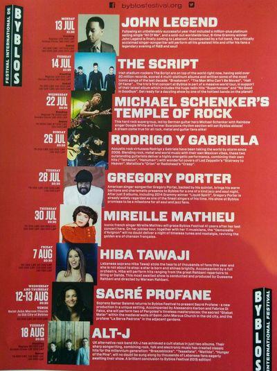 Byblos International Festival Summer 2015 Program John Legend The Scypt Michael Schenker Mireille Mathieu  Alt-J